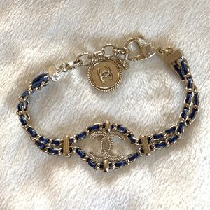 Authentic Chanel Blue Leather Logo Bracelet